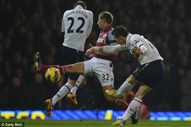 Thunderbolt: Bale unleashes the winning goal at Upton Park