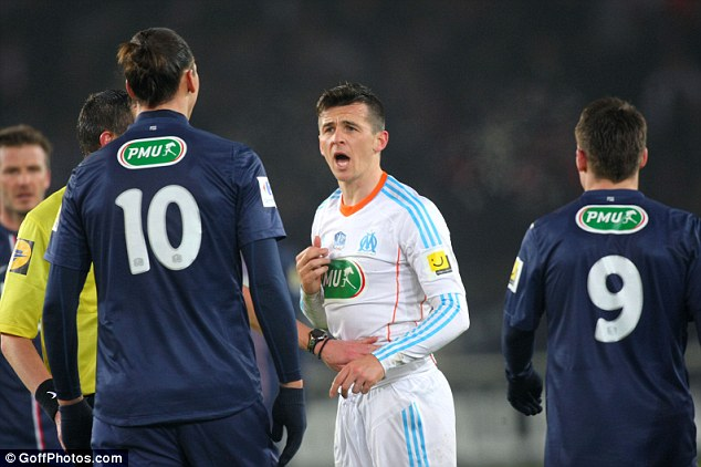 Class apart: Barton couldn't stop Ibrahimovic seeing off Marseille on Wednesday night