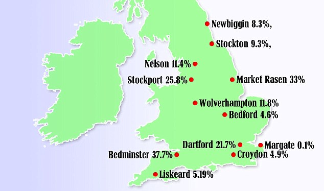 High street spending: The percentage of grants used by 12 winning towns between May and December 2012