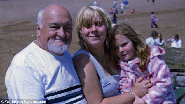 Happier times: Richard and Lisa Roden, pictured with Lisa's daughter from another relationship Bethany, on a family holiday in 2009