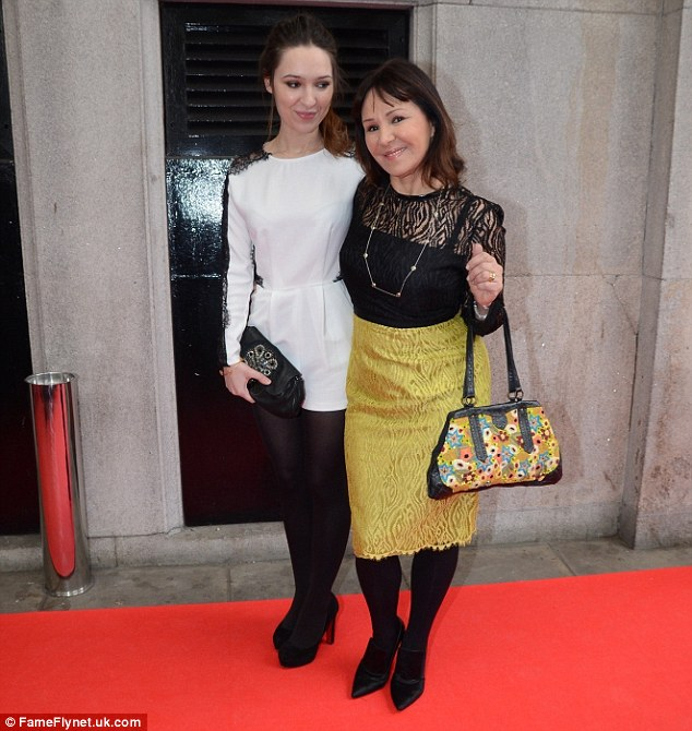 Proud mum: Arlene Phillips was accompanied by one of her daughters as she posed on the red carpet