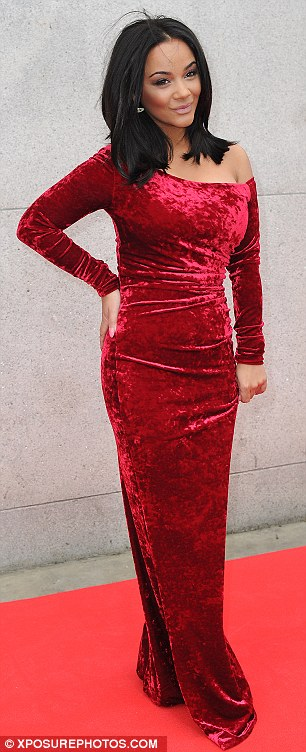 Lady in red: Chelsee Healy chose a floor-length scarlet velvet number, which was somewhat over-the-top given the event was held in the daytime