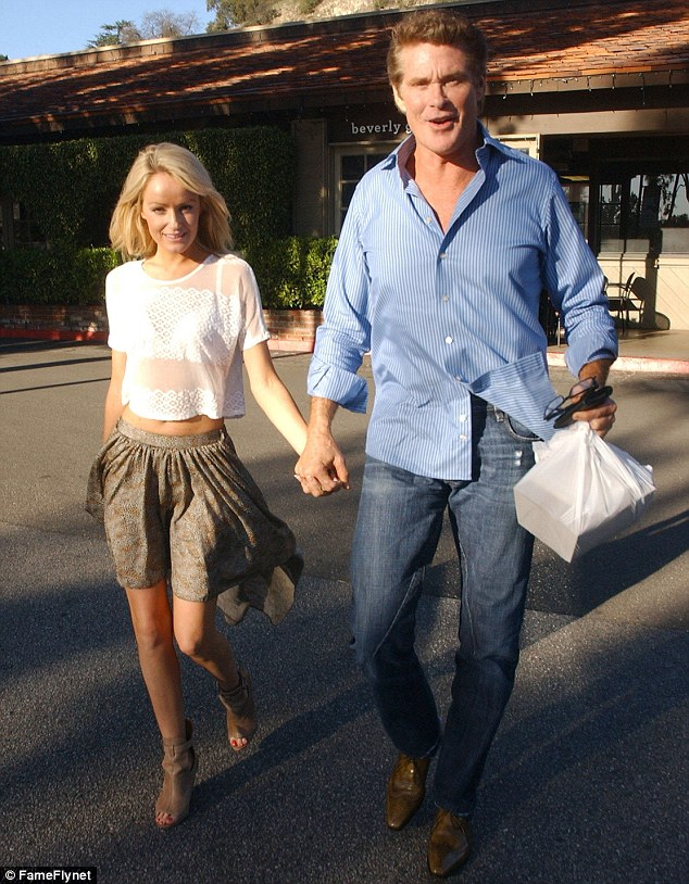 Hold my hand: Actor David Hasselhoff were spotted in Bel-Air, California on Saturday