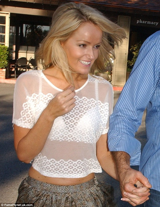 Eye-catching attire: Hayley was seen in a sheer top after having lunch at the Beverly Glen deli