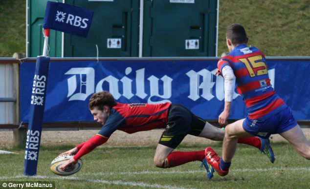 Touching down: Felsted School's Miles Singleton (left) scores in the win over St Ambrose