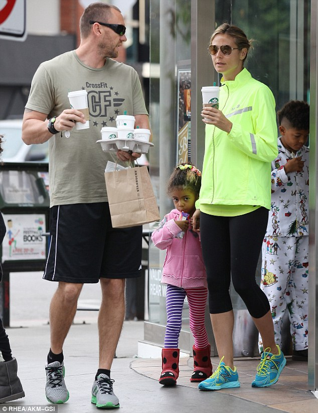Family time: The model with her bodyguard boyfriend and her children in LA over the weekend. She later jetted out to New Orleans to take part in auditions