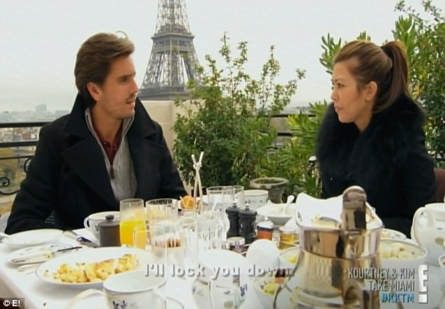 Petit dejeuner: The pair shared a couples breakfast within view of the Eiffel Tower