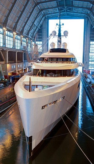 Super yacht: The beauty queen and her Swiss husband splashed out on the biggest motor yacht ever built in the UK