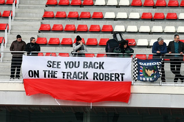 Comeback trail: Fans show their support for Kubica at F1 testing in Barcelona last week