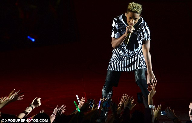 Keeping them entertained: Jaden Smith was the first of three support acts on the night