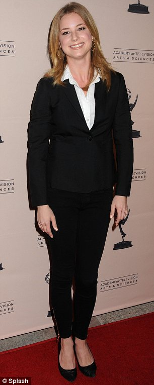 Playing it safe: Emily VanCamp wore a power suit to attend An Evening With Revenge in North Hollywood on Monday