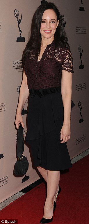 Youthful: Madeleine Stowe, 54, looked amazing in a lace burgundy top and black pencil skirt
