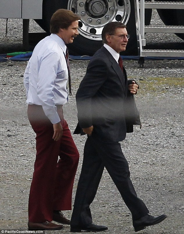 New role: Harrison Ford was seen joining Will Ferrell on the set of the highly anticipated sequel, Anchorman: The Legend Continues last month