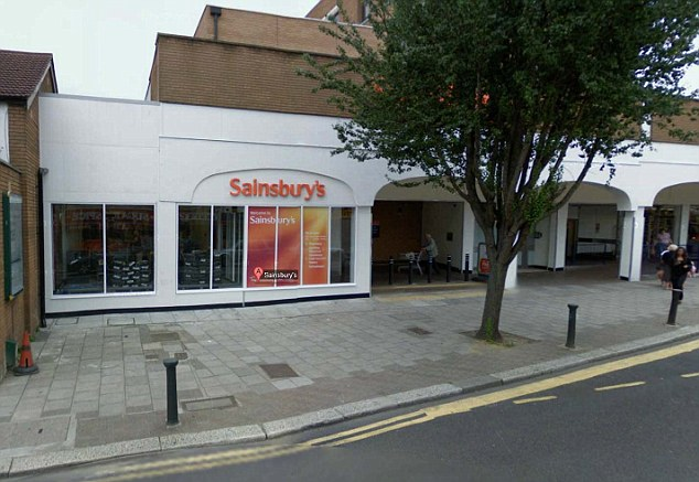 Horrific: The incident happened outside this busy Sainsbury's store in front of shoppers