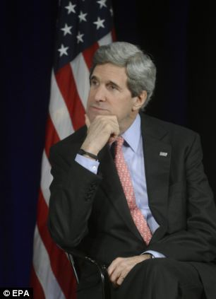No discussions: US Secretary of State John Kerry, pictured, and Russian Foreign Minister Sergei Lavrov met in berlin following the exercise but are said not to have discussed the matter