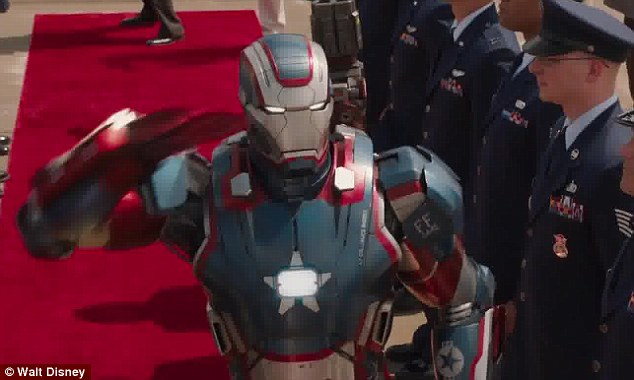 Suited up: Robert is seen clad in his futuristic Iron Man suit in the trailer