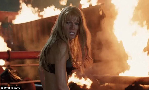 Red hot: The third Iron Man also has Paltrow stripping down to just a black bra during one scene