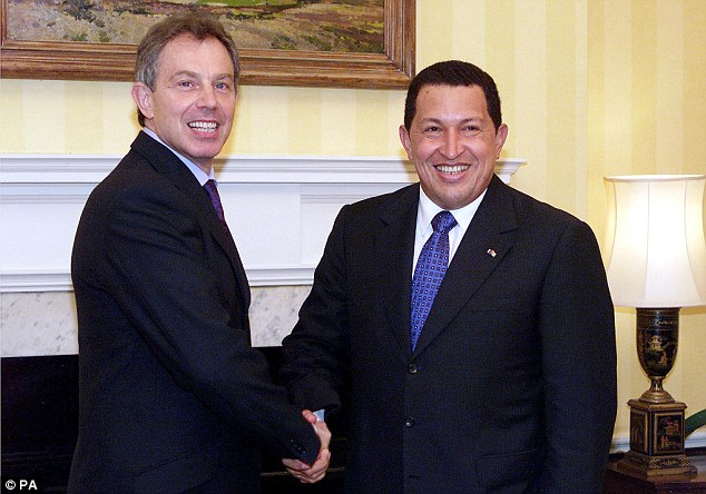 Influence: Hugo Chavez being greeted by former Prime Minister Tony Blair during a visit to Downing Street