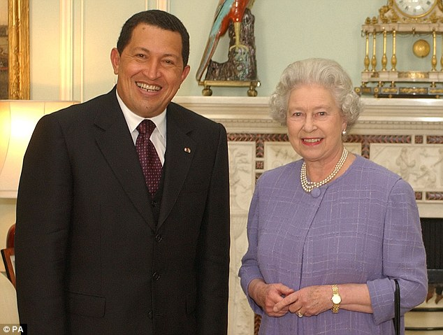 World leader: Chavez pictured with Queen Elizabeth II at Buckingham Palace 2001