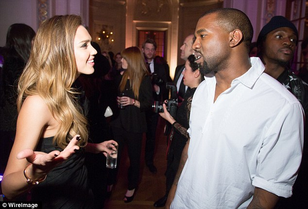 Showbiz pals: Jessica Alba and Kanye West seemed to be enjoying a catch-up at the bash