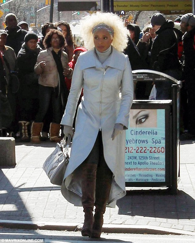 Brand new look: Mary J. Blige as Platinum Fro on the set of the musical Black Nativity in New York, on Tuesday