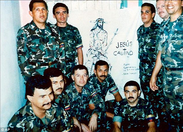 In jail: Chavez, top left, with his fellow plotters after they were imprisoned for their coup attempt