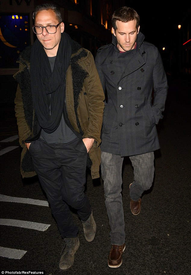 No Blake? Ryan Reynolds looks pensive as he heads for dinner with a guy pal in London on Tuesday night, minus wife Lively