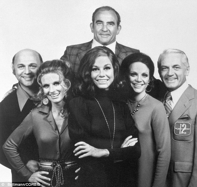 The cast of The Mary Tyler Moore Show, from left to right: Gavin MacLeod, Cloris Leachman, Mary Tyler Moore, Valerie Harper, and Ted Knight. At top, is Ed Asner