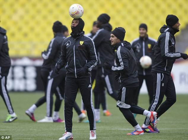 High profile:  Samuel Eto'o balances a ball while in training this afternoon