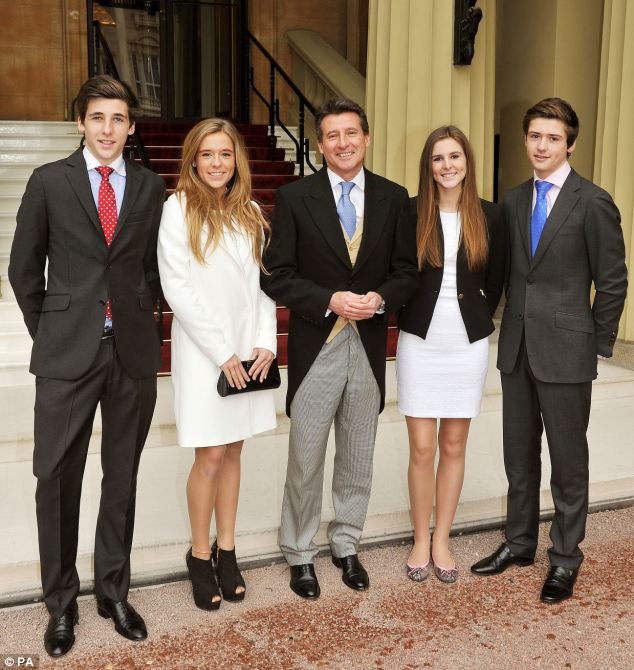 A family affair: Lord Coe arrives  with his children (left to right) Harry, Maddy, Alice, and Peter