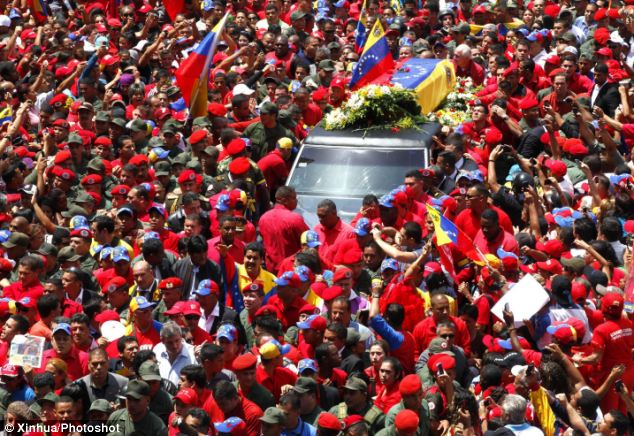 Procession in honor of Venezuelan President Hugo Chavez