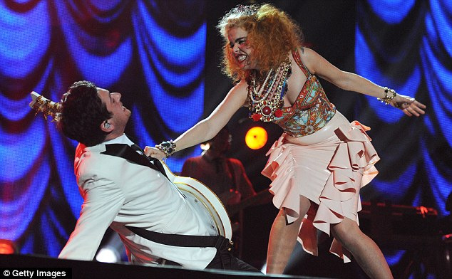 Play fight: At one point, Paloma had a rehearsed 'fight' with her guitarist