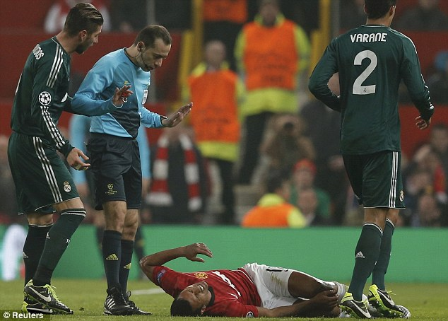 Worth a try: Even playing almost dead did not help Nani's case as he was sent for an early bath