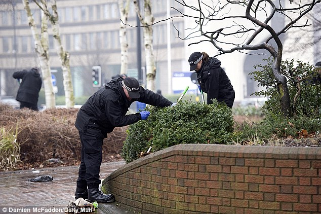 Rooting out clues: Police search bushes near the scene where Christina was murdered