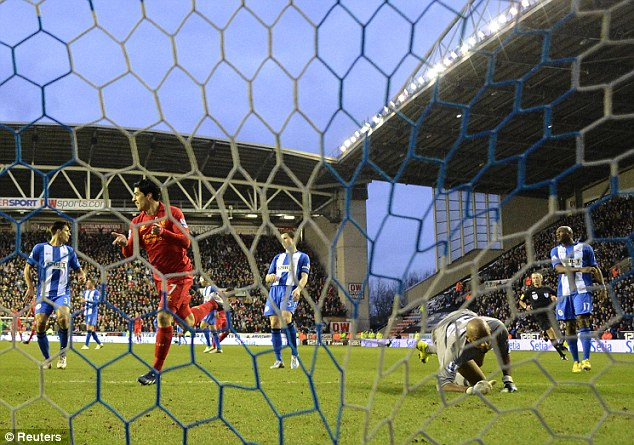 Dead-eye: Suarez grabbed a hat-trick against Wigan in his last outing