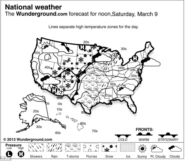 Forecast: A forecast for Saturday shows how the East Coast will finally be free of snow