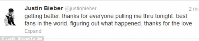Feeling better: After being taken to hospital following the gig, Justin tweeted his fans to thank them for their support