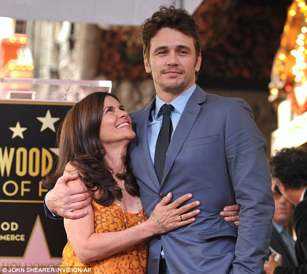 So proud: The actor's mother Betsy Franco looked extremely excited for her son
