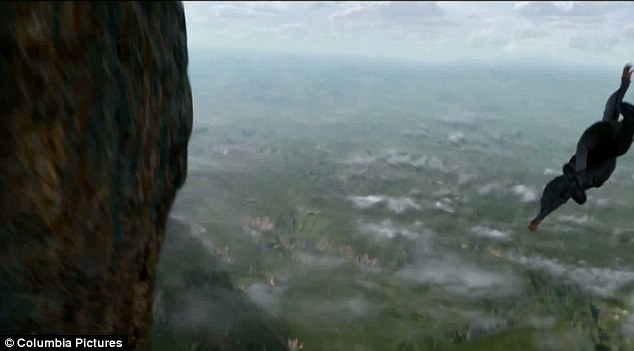 Swooping low: Jaden takes a sharp turn after jumping off the mountain as he flies high above the sky in the movie