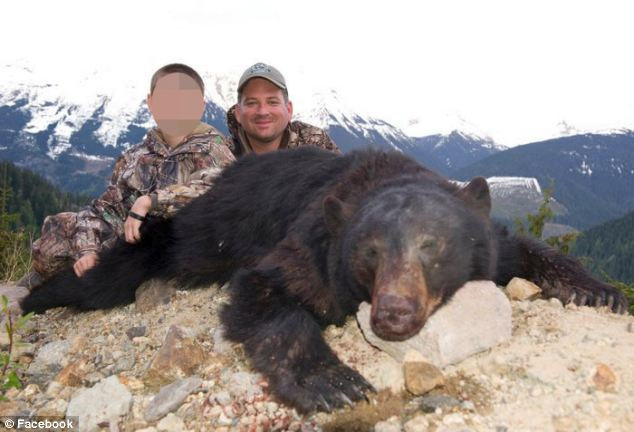 Pastime: Rodriguez is pictured on many hunts across the country with his young son
