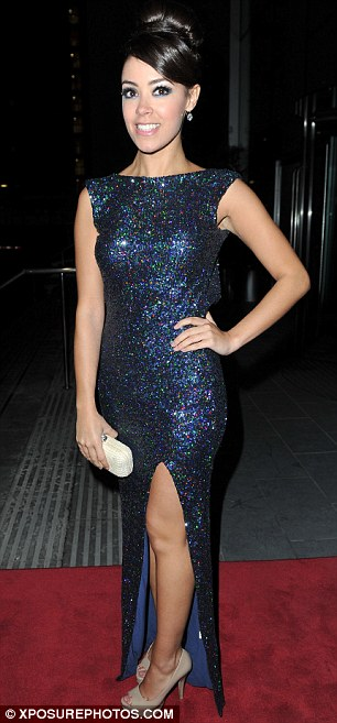 Former screen stars: Desperate Scousewives star Gillian O'Toole looks flamboyant, while former Hollyoaks star Leah Lackett looked glam in blue sequins
