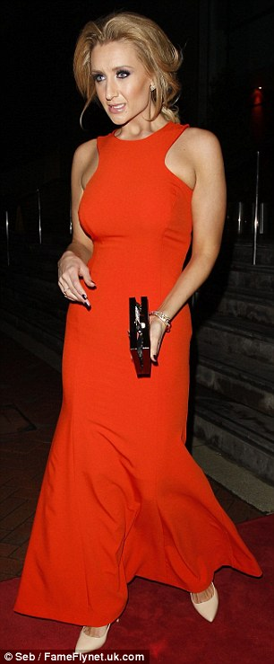 Amber alert: Catherine Tyldesley wore a floor-length orange gown
