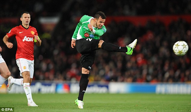 Off the pace: Giggs can only watch as Cluj's Luis Alberto scores the only goal of the game at Old Trafford