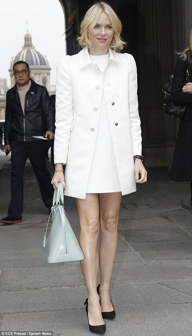 White hot: Meanwhile, Liev's partner Naomi was seen attending the Louis Vuitton Fall/Winter 2013 show in Paris on Wednesday