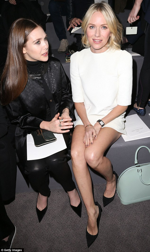 Front row: The actress sat front row at the show with Elisabeth Olsen