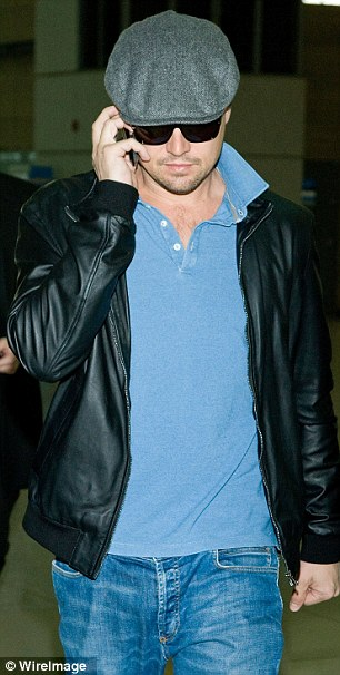 Under wraps: Keeping under wraps, the 38-year-old star shielded his eyes with some sunglasses