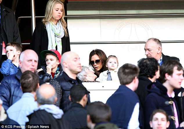 The entire Beckham clan: Victoria brought along her three boys and David's parents Ted and Sandra to make it a family affair