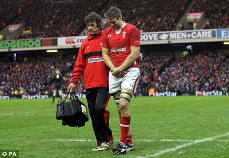 Welsh woe: Ryan Jones goes off the pitch injured
