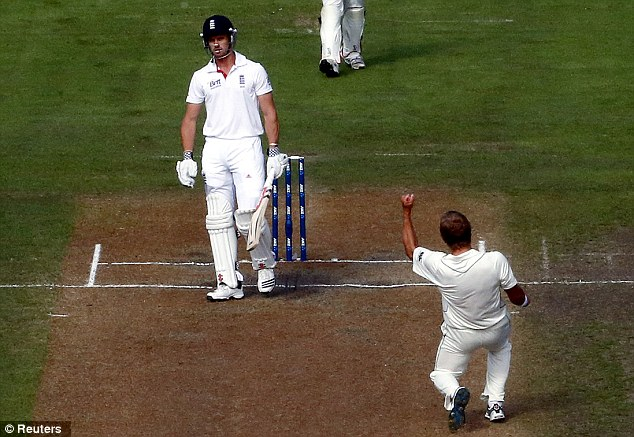 Prize wicket: New Zealand's Neil Wagner celebrates dismissing Compton