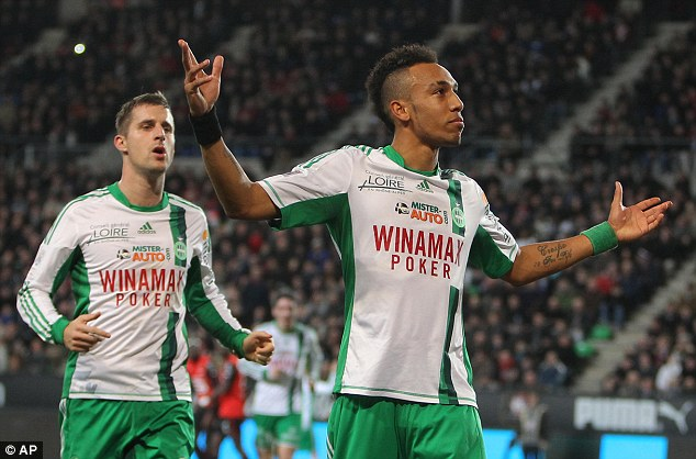 Good impression: Pierre-Emerick Aubameyang scored for Saint-Etienne on Friday night in front of a number of Premier League scouts